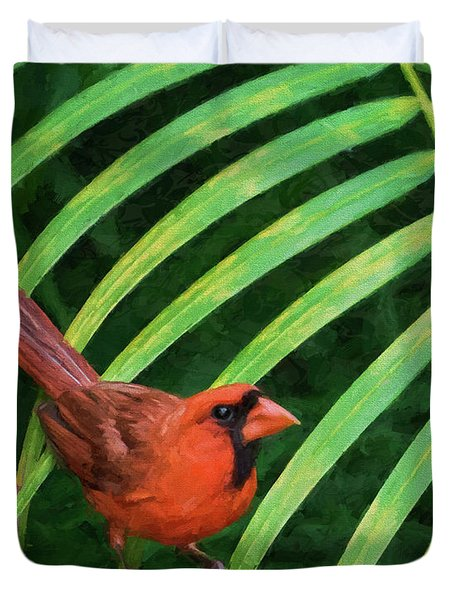 Duvet Cover featuring the digital art Northern Cardinal by Christina Lihani