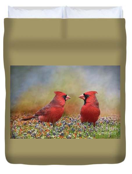 Duvet Cover featuring the photograph Northern Cardinals In Sea Of Flowers by Bonnie Barry