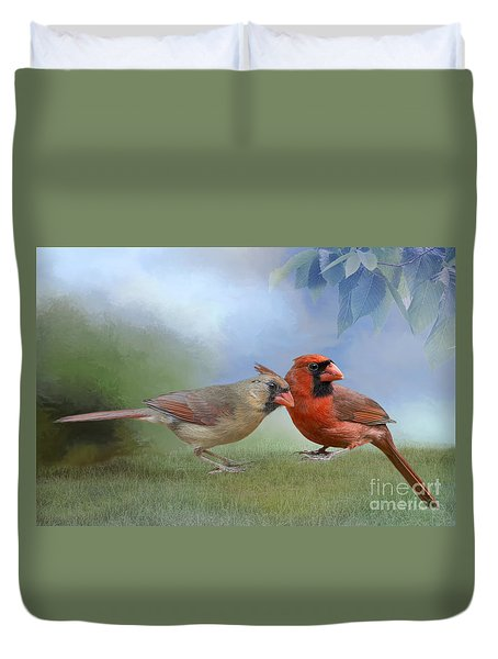 Duvet Cover featuring the photograph Northern Cardinals On A Spring Day by Bonnie Barry