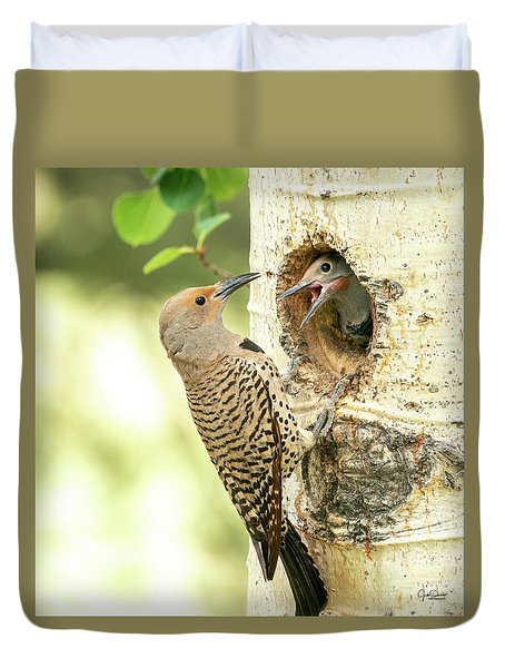 Northern Flicker Feeding Baby Duvet Cover