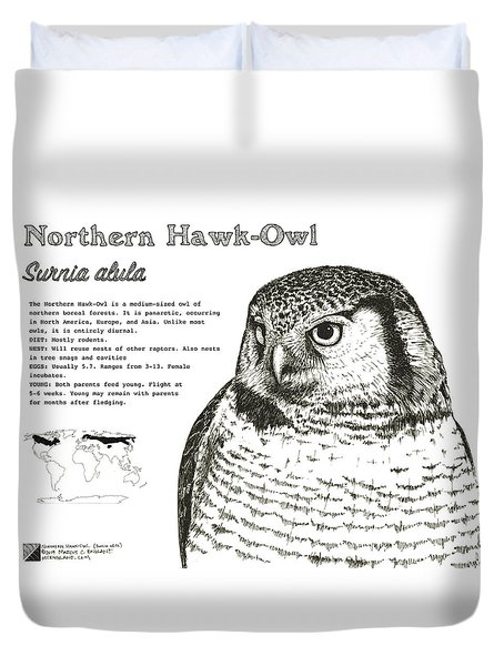 Northern Hawk-owl Infographic Poster Duvet Cover