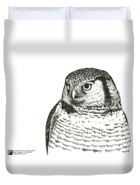 Northern Hawk-owl Duvet Cover