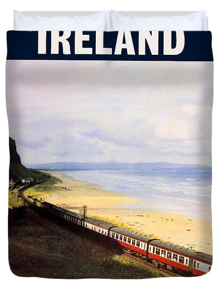 Northern Ireland Coast, Railway, Train, Travel Poster Duvet Cover