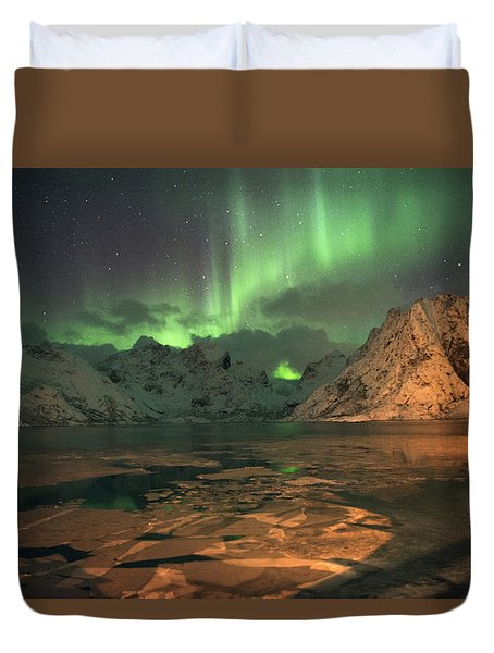 Northern Light In Lofoten, Nordland 1 Duvet Cover