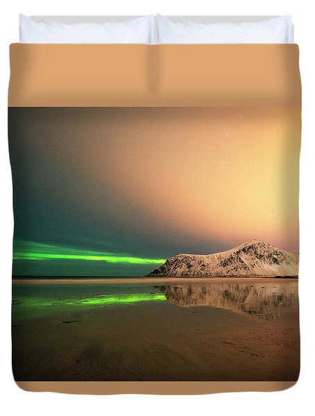 Northern Light In Lofoten Nordland 5 Duvet Cover