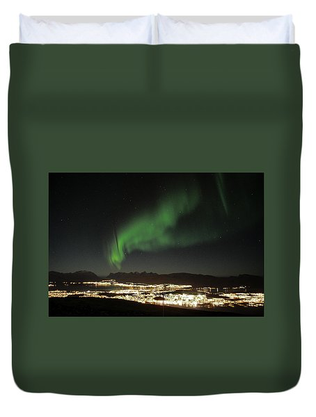 Northern Light In Troms, North Of Norway Duvet Cover