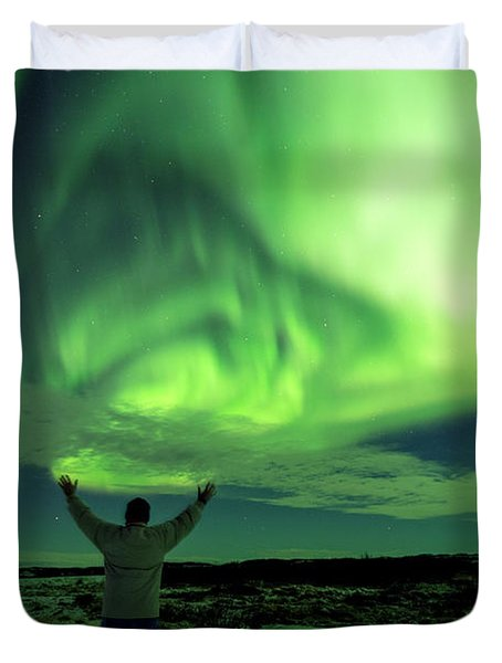 Northern Light In Western Iceland Duvet Cover