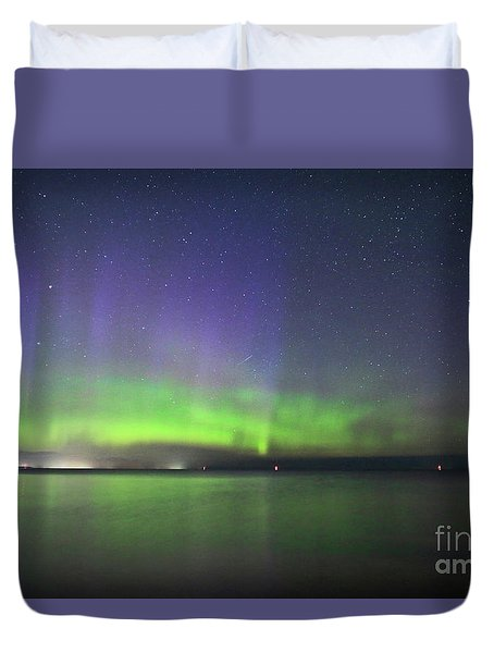 Duvet Cover featuring the photograph Northern Light With Perseid Meteor by Charline Xia