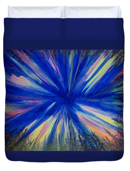 Duvet Cover featuring the painting Northern Lights 3 by Cathy Long