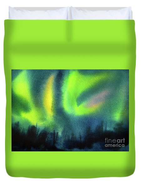 Duvet Cover featuring the painting Northern Lights 3 by Kathy Braud