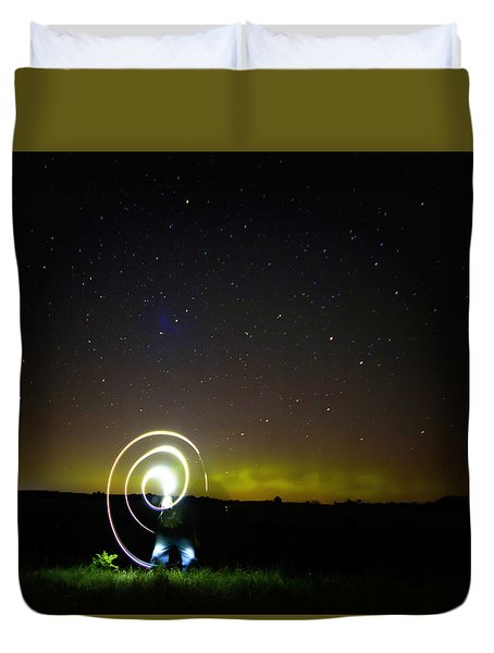 Northern Lights And Night Writing Duvet Cover