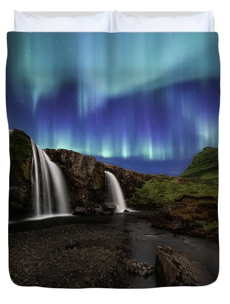 Northern Lights At Kirkjufellsfoss Waterfalls Iceland Duvet Cover