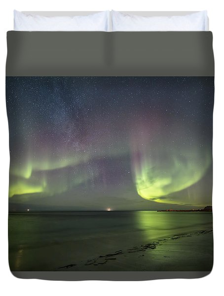 Northern Lights At The Beach II Duvet Cover