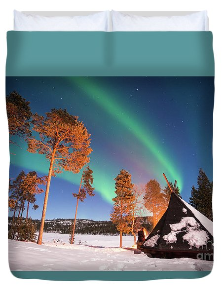 Northern Lights By The Lake Duvet Cover by Delphimages Photo Creations