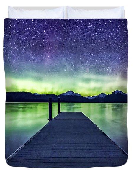 Northern Lights Glacier National Park Duvet Cover