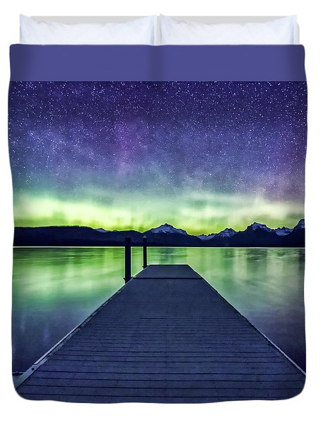 Northern Lights Glacier National Park Duvet Cover