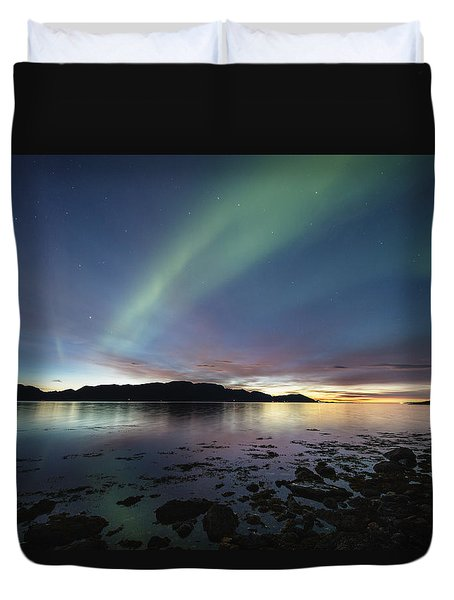 Northern Lights Meet Sunset Duvet Cover