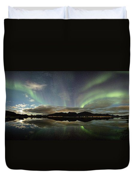 Northern Lights Panorama Duvet Cover