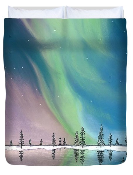 Northern Lights The Wolf And The Comet  Duvet Cover by Jackie Novak