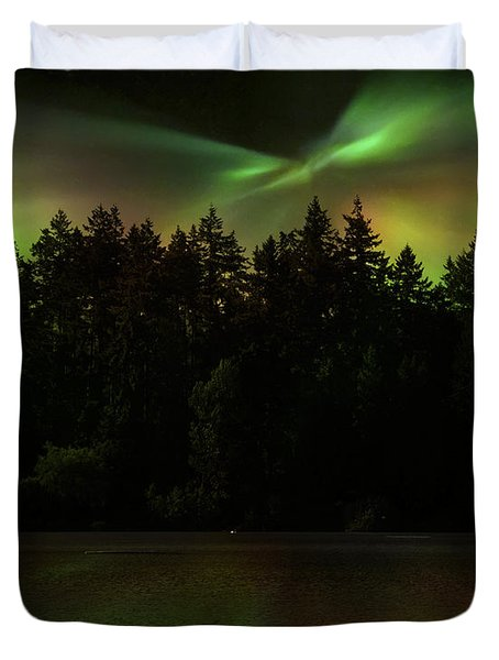 Duvet Cover featuring the photograph Northern Lights Woodland  by Gigi Ebert