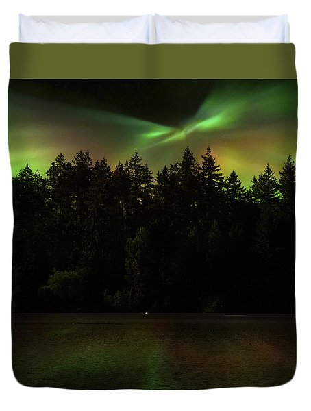 Northern Lights Woodland  Duvet Cover