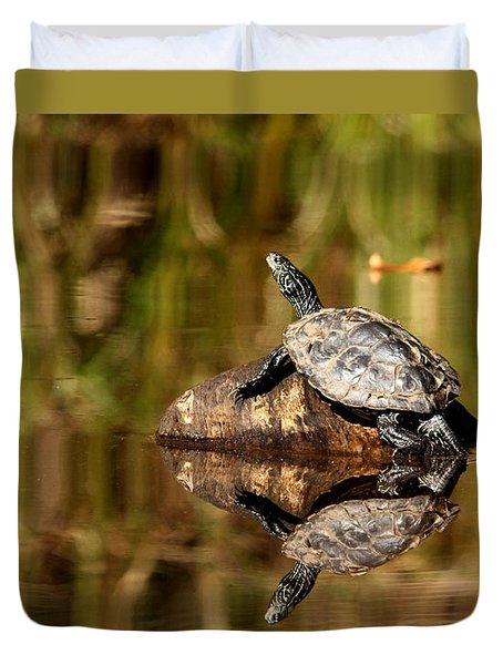 Duvet Cover featuring the photograph Northern Map Turtle by Debbie Oppermann