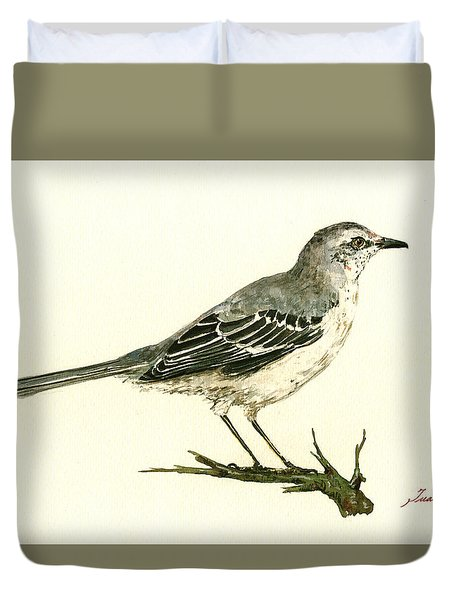 Northern Mockingbird Duvet Cover by Juan  Bosco