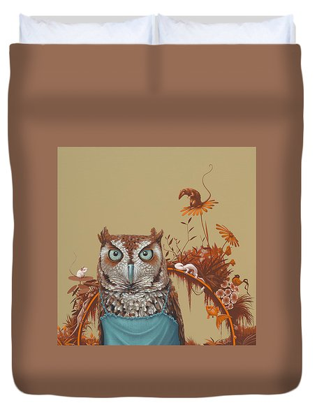 Northern Screech Owl Duvet Cover by Jasper Oostland