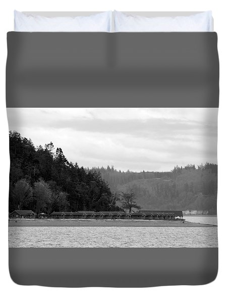 Duvet Cover featuring the photograph Northwest Beach Cabins by Erin Kohlenberg