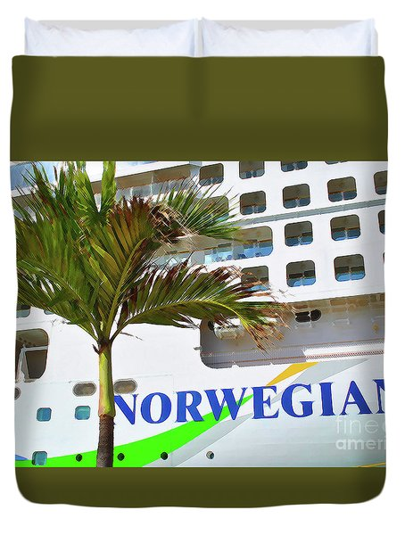 Duvet Cover featuring the photograph Norwegian Cruise Line by Jost Houk