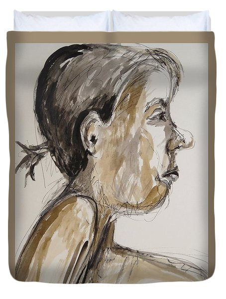 Duvet Cover featuring the painting Nose Job Nose by Esther Newman-Cohen