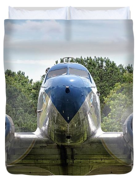 Nose To Nose With A Dc-3 Duvet Cover