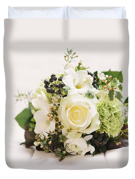 Nosegay Bouquet With White Rose Duvet Cover