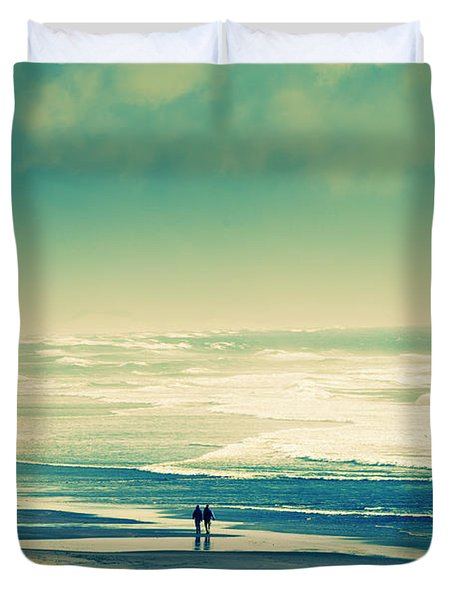 Nostalgic Oceanside Oregon Coast Duvet Cover by Amyn Nasser