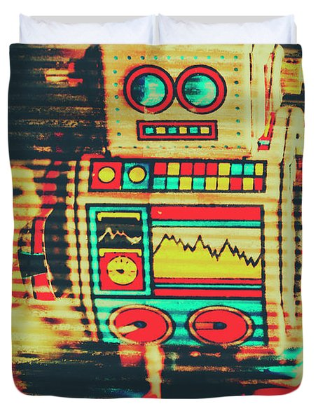 Nostalgic Tin Sign Robot Duvet Cover