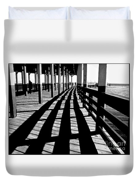 Nostalgic Walk On The Pier Duvet Cover