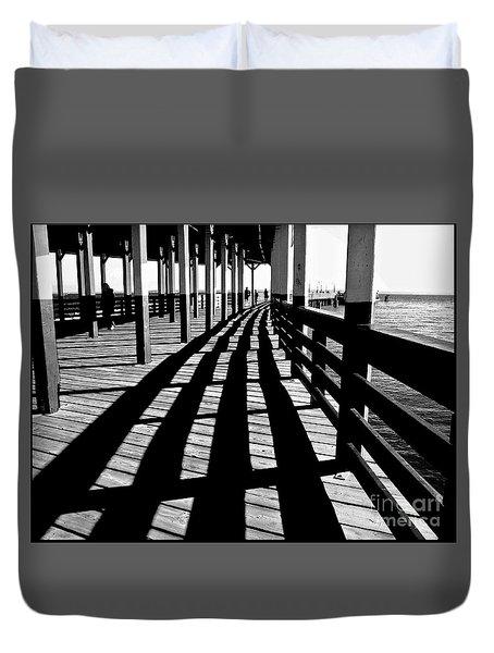 Nostalgic Walk On The Pier Duvet Cover