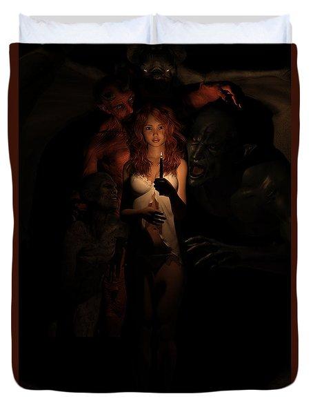 Not Alone In The Dark Duvet Cover