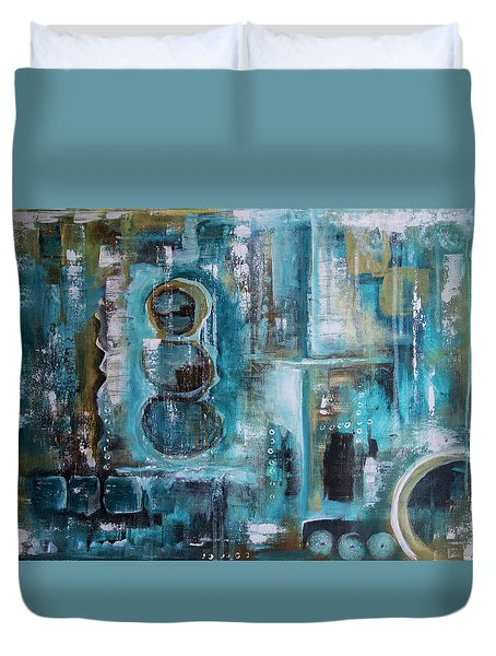 Duvet Cover featuring the painting Not Alone by Jocelyn Friis