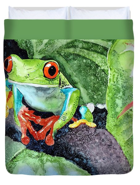 Duvet Cover featuring the painting Not Kermit by Tom Riggs