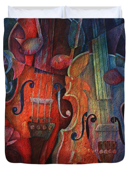Noteworthy - A Viola Duo Duvet Cover by Susanne Clark