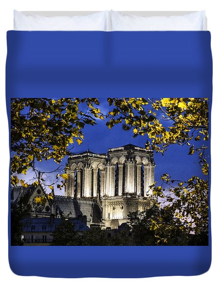 Notre Dame At Night Paris Duvet Cover