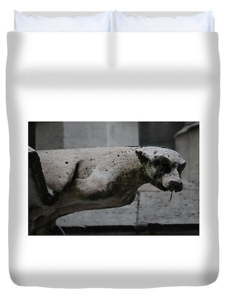 Duvet Cover featuring the photograph Notre Dame Bat Gargoyle by Christopher Kirby
