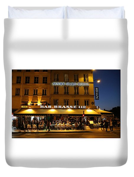 Duvet Cover featuring the photograph Notre Dame Cafe by Andrew Fare
