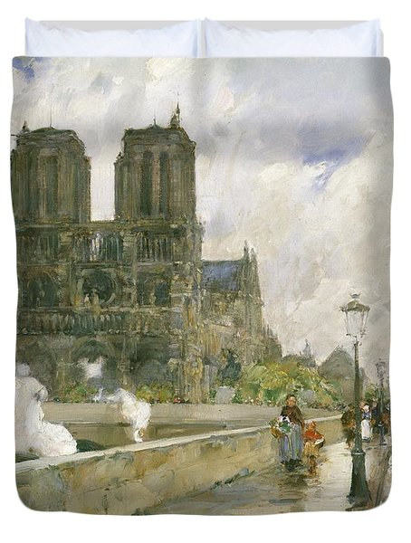 Notre Dame Cathedral - Paris Duvet Cover by Childe Hassam