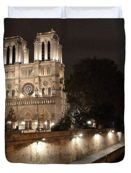 Notre Dame Cathedral From Petit Pont Duvet Cover