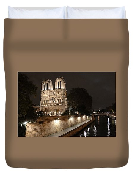 Duvet Cover featuring the photograph Notre Dame Cathedral From Petit Pont by Christopher Kirby