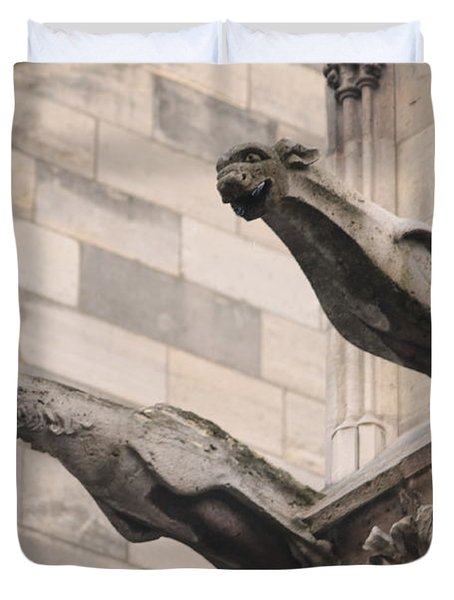 Notre Dame Cathedral Gargoyles Duvet Cover