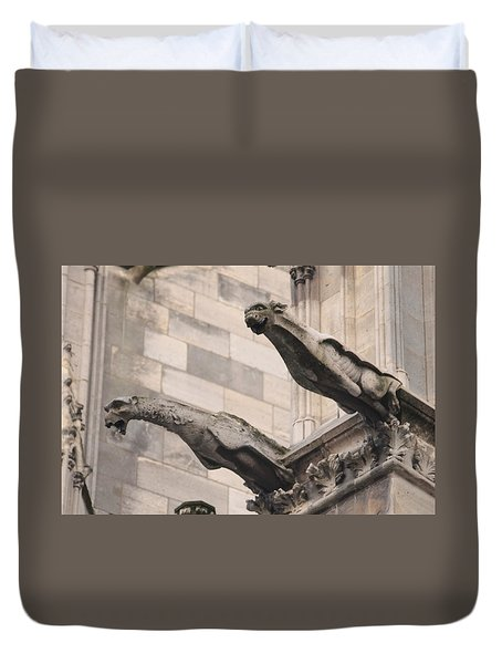 Duvet Cover featuring the photograph Notre Dame Cathedral Gargoyles by Christopher Kirby