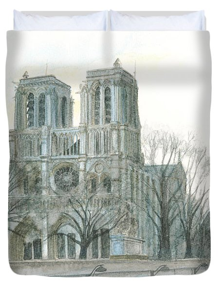 Notre Dame Cathedral In March Duvet Cover